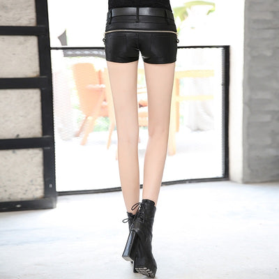 Leather Shorts Women Sexy Vintage Slim