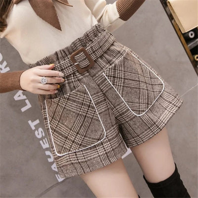 Plaid Woolen Shorts Women High Waist Loose Wide Leg Belted
