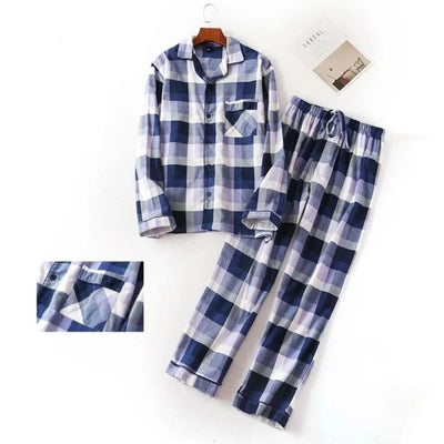 Cotton Pajamas for Men  2 Pieces Set Plaid  Plus Size
