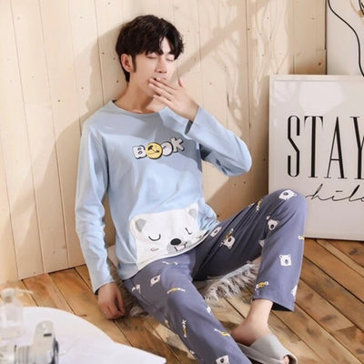 Cotton Pajamas for Men  2 Pieces Set Spring Long Sleeve  Plus Size