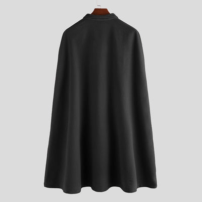 Winter Men's Cloak Fleece Overcoat Solid Streetwear
