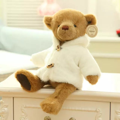 "Teddy Bear Plush Toys 15"" Stuffed Animal with Coat Plush Joint"