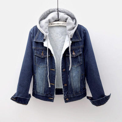 Winter Jacket Women Thick Detachable Hooded Denim Plus Size