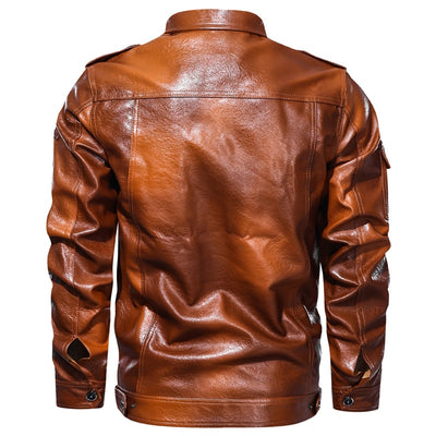 Mens  Leather Jacket Vintage Style Plus Size