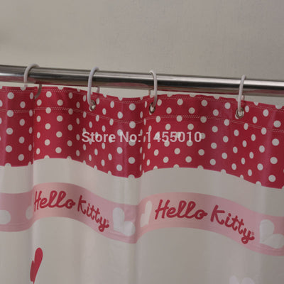 Shower Curtains Pink Color Kitty