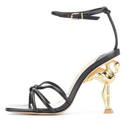 Women  Summer  Sandals Unique Flamingo Strange High Heel  Ankle Strap