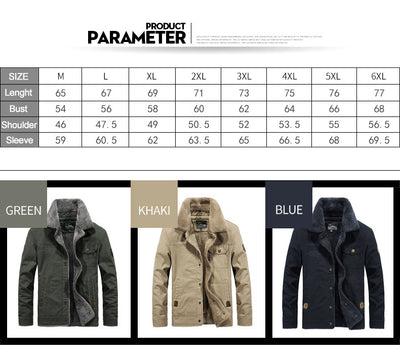 Winter  Jackets for  Men Thicken Wool Liner Plus Size