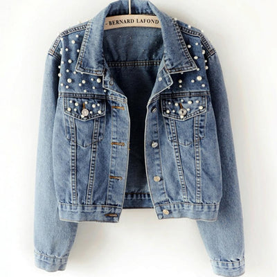 Jeans  Jacket Women Vintage Pearl Beading Short  Plus Size