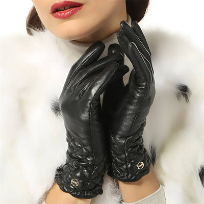 Winter  Genuine Leather Gloves  for Women Full Finger