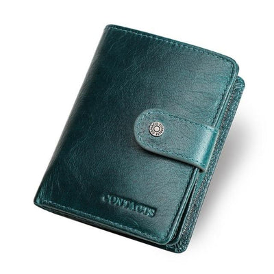Genuine Leather   Wallets for  Men  Zipper Coin Purse  Rfid Blocking