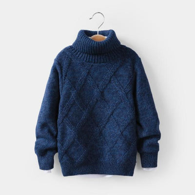 Winter  Knitted Plush  Sweater For Boys High Collar
