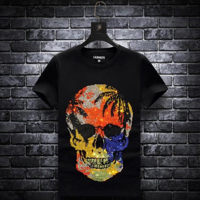 T Shirts for Men Fashion Skull Rhinestones Short Sleeve Plus Size