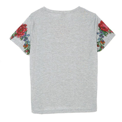 T Shirts for Women Floral Pattern Tassel
