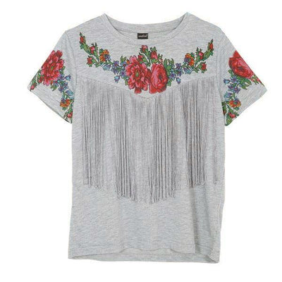 T Shirts for Women tassel floral print O neck