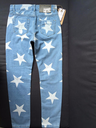 Jeans for Women  Big Hole Ripped with Five-pointed Star