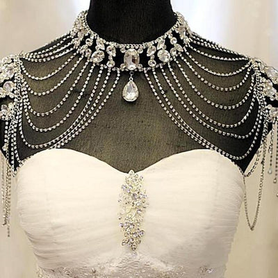 Crystal Necklace Handmade Bridal Shoulder