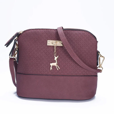 Leather Crossbody Bag with Pendant Cute Deer