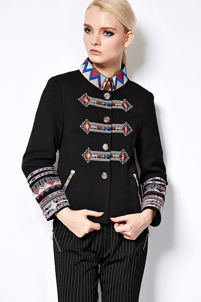 Winter Jackets for Women Full Sleeve Geometric Flower Embroidery