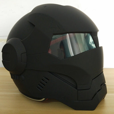 Black Motorcycle Helmets Iron Man Open Face