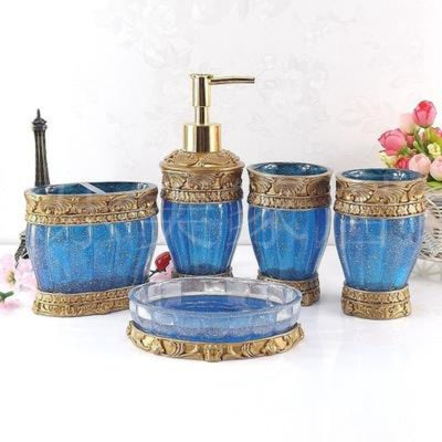 Bathroom Accessories Floral Resin Set