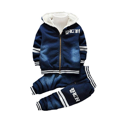 Baby Boy Jeans Winter Sets Thick Warm