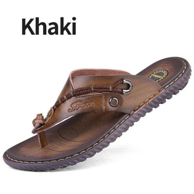 Mens Leather Sandals Flip Flops