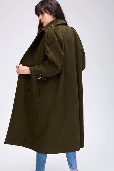 Womens Winter  Coats  Double-breasted X-long with Belt