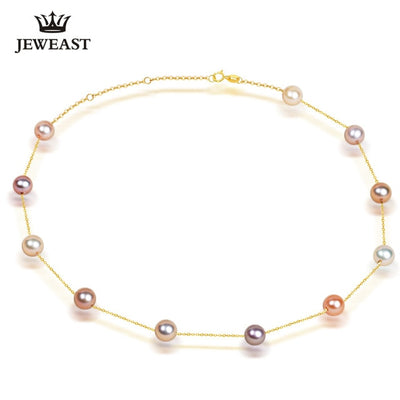 Pearl Necklace 18k Pure Gold for Women About 18""