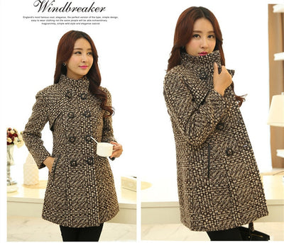 Womens Winter  Coats Woolen Turtleneck Plaid