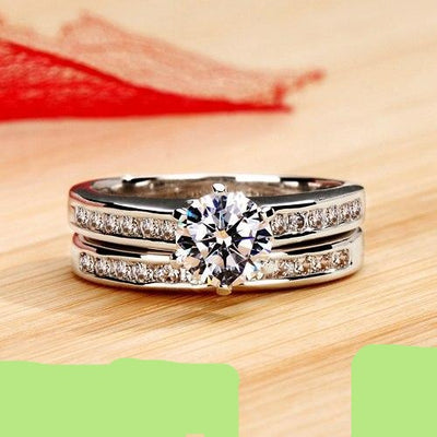Wedding Rings Set for Women Platinum Plated
