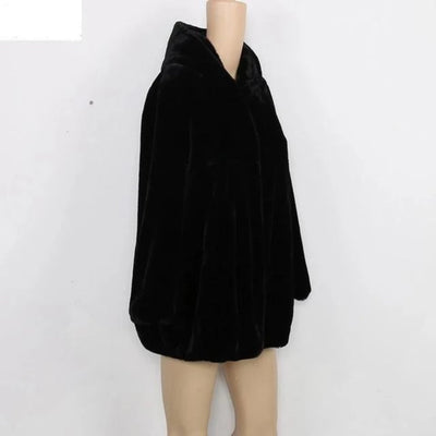 Winter Coats for Women With Hood High Waist  Faux Fur Plus Size