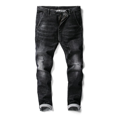 Jeans for Men Black Casual Slim Skinny Elastic