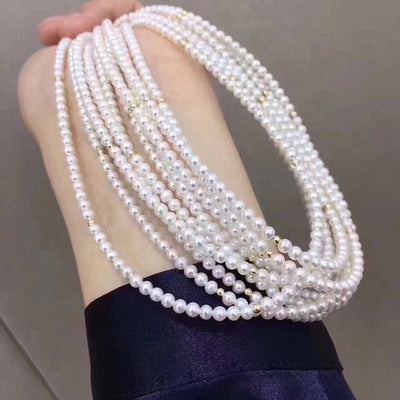 Long Pearl  Necklace  with 18k Gold Beads