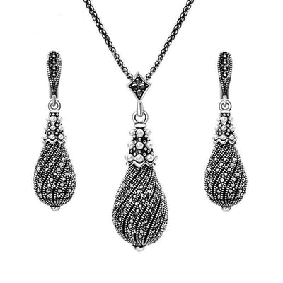 Womens Necklaces and Earrings Vintage Jewelry Set Full Black Rhinestone