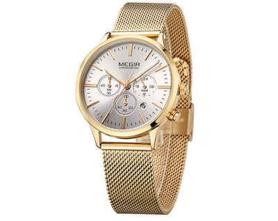 Women Watches Stainless Steel Mesh Bracelet Quartz Chronograph