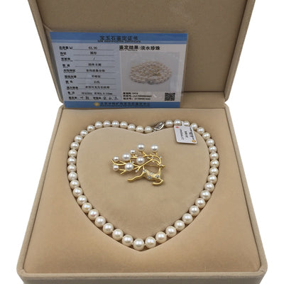 Pearl  Jewelry with  925 Silver Clasp  for Woman Necklace Chocker Brooch Set