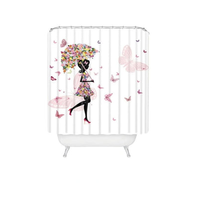 Shower Curtains Beauty Fairy Pattern with  Floor Mat and Hook Set