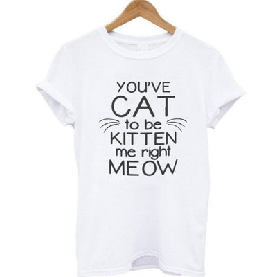 T Shirts for Women Cat Print Short Sleeve