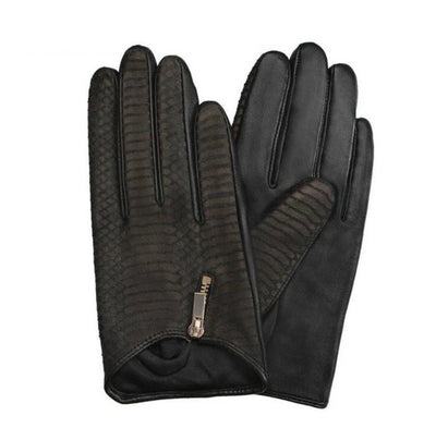 Snake Leather Gloves Punk Ladies