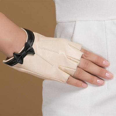 Winter Gloves  for Women Genuine Leather  Half Finger with  Wrist Bow
