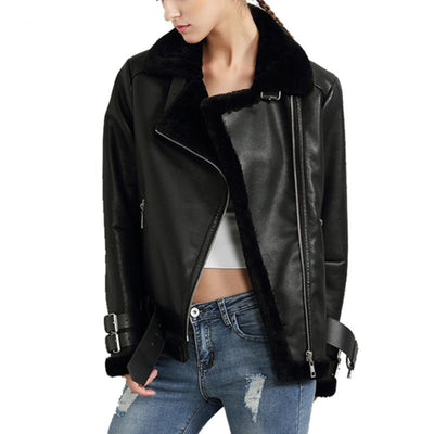 Black Red Women Faux Leather Berber Suede Shearling Coats Vintage Motorcycle Thicken Jacket Artificial Fur Warm Coats U306111