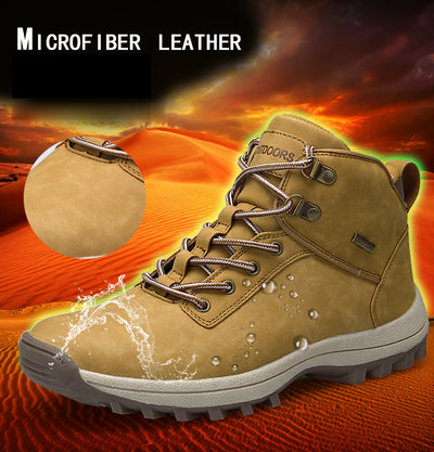 Mens Boots Leather Fashion Waterproof
