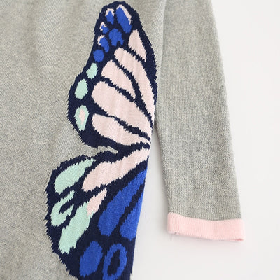 Woolen Sweaters for Girls O-Neck Printed Butterfly Wing