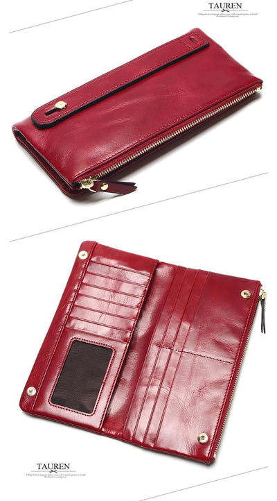 Genuine Oil Leather Long  Wallets for  Women  Portable Multifunction