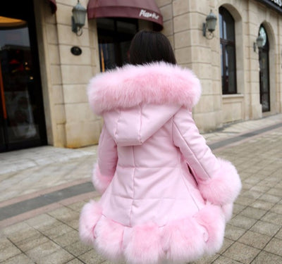 Childrens Clothes PU Leather Patchwork  Faux Fur Collar  Princess Coats
