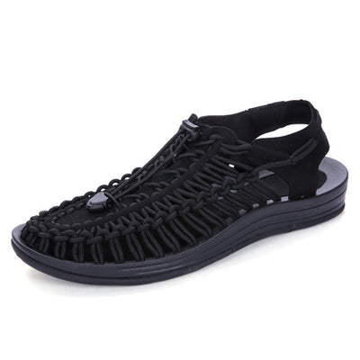 Mens Leather Sandals  Knit Weave