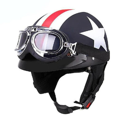 Motorcycle Helmets with Goggles Half Open Face Strip Stars