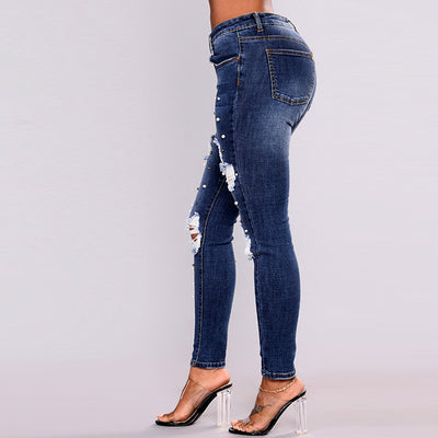 Sexy Pearl Ripped jeans for Women