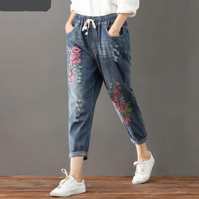Harem Pants Embroidery Floral for Women