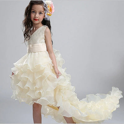 Kids Girls Party Trailing Dresses  with Bow-knot